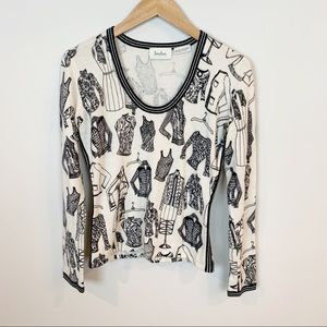 Neiman Marcus Whimsical Print Cashmere Sweater